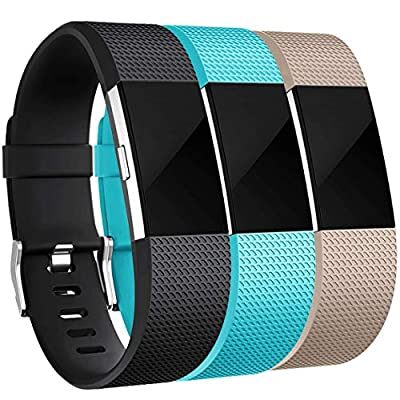Maledan Bands Replacement Compatible with Fitbit Charge 2, 3 Pack, Black/Teal/Beige, Small