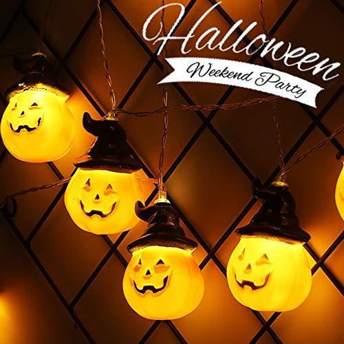 Halloween Dekoration Kürbis Batterie Lichterkette, Morbuy Laterne Entwurf LED Smiley-Gesicht Warmweiß Licht Deko Lampe Weihnachten für Kinderzimmer Innen Wohnzimmer (Orange Kürbis,3.8M)