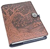 Genuine Leather Refillable Journal Cover with a Hardbound Blank Insert, 6x9 Inches, Tree of Life, Saddle with a Pewter Button, Made in the USA by Oberon Design