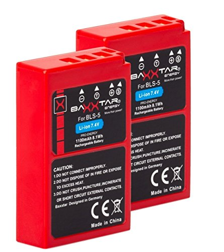Baxxtar Pro (2X) Batería Compatible con Olympus BLS-50 BLS-5 (1100mAh / infochip/Nueva generación) Stylus 1 1s Pen E-PL5 E-PL6 E-PL7 E-PL8 E-PL9 E-PL10 E-P3 E-PM1 E-PM2 - E-M5 III E-M10 II III