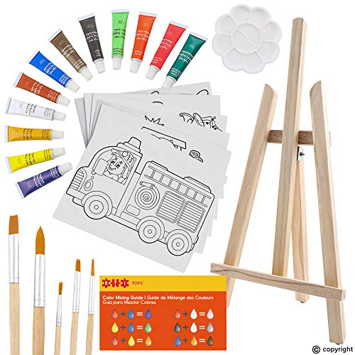 ETI Toys 26 Piece Kids Art Painting Set with Wood Easel 6 Cars and Trucks Themed Canvases 12 Color Acrylic Paints 5 Paint Brushes Palette Arts Studio for Artist Children Ages 6 Years Old
