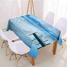 VICWOWONE Summer Home Rectangle Tablecloth Suitable for Camping Wood Pier Lake Serene Water,Rectangle - W60 x L102 inch