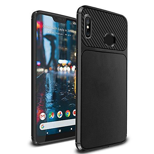 Ferilinso Funda para Xiaomi Mi A2 Lite,Silicona Flexible Híbrido Defensor Shockproof Funda Protectora diseño de Fibra de Carbono de la Cubierta (Negro)