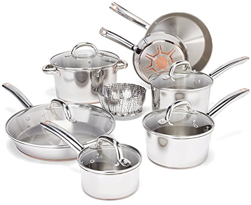 T-fal E765SC Ultimate Hard Anodized Titanium Thermo-Spot 12-Piece, Gray (Certified Refurbished)