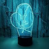 SFALHX Lámpara 3D Baile 7 Colores Brillo Regulable Recargable USB, Decorativa para Dormitorio Salón, Regalo para Mujeres y Niños [Clase de eficiencia energética A++]