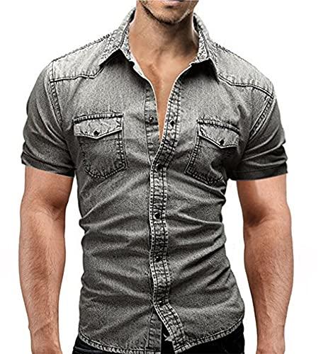 Camisa Vaquera para Hombre Camisa De Trabajo Oxford De Manga Corta Camisas con Botones De Talla Grande,Light Gray,M