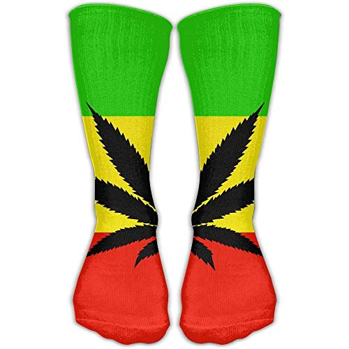 Xinfub Damen Herren Classics Socken Jamaika Flagge Weed Leaf Athletic Strümpfe Lange Socken Einheitsgröße 50 cm bequem 655