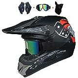 WLBRIGHT Adulto Juvenil Downhill Casco Regalos Gafas Gafas Máscara Guantes BMX MTB ATV Carrera de Bicicleta Casco Completo Casco Integral,B,L