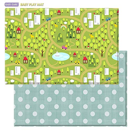 Baby Care Play Mat - Playful Collection (Country Town - Blue, Large) - Play Mat for Infants – Non-Toxic Baby Rug – Cushioned Baby Mat Waterproof Playmat – Reversible Double-Sided Kindergarten Mat