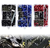 Motorcycle Fairing Bolt Kit, 177pcs M5 M6 Motorcycle Windscreen Screws Colorful Fasteners Fairing Bolts Nut Clips Kit for Kawasak Suzuki Honda Ducati Yamaha BMW GSXR Motorcycle (Black)