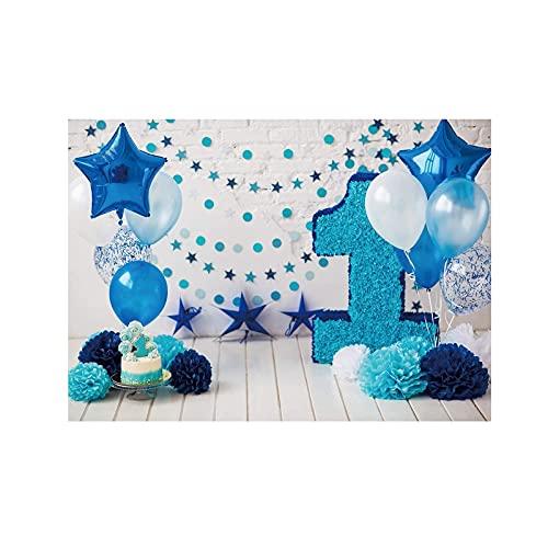 Fotografia 3D fotografia fundo, feliz 1º aniversário fundo papel flores balões bolo esmagar o chão de madeira menino bebê um ano velho festa decoração studio studio (Color : Blue)