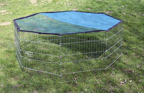 Kerbl Freigehege aus 8 Gittern, verzinkt, mit Netz und Tür, Ø 143 cm - 4