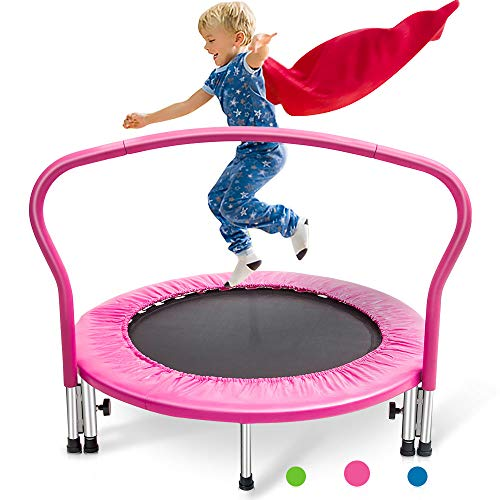 Merax 36' Kid's Mini Exercise Trampoline Portable Trampoline with Handrail and Padded Cover (Pink2019)