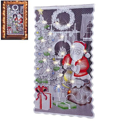 Spitze Vorhänge Scheibengardine mit LED Weihnachten Deko Weihnachtsvorhang Tüll Fenster Behandlung 84 * 40zoll Weihnachtsmann Christmas Gardine