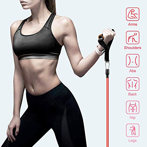 【2020 Newest】 Resistance Bands Set Home Fitness 5 Stackable Exercise Bands Door Anchor 2 Handles 2 Legs Ankle Straps Waterproof Carry Bag for Resistance Training Physi Cal Therapy 6