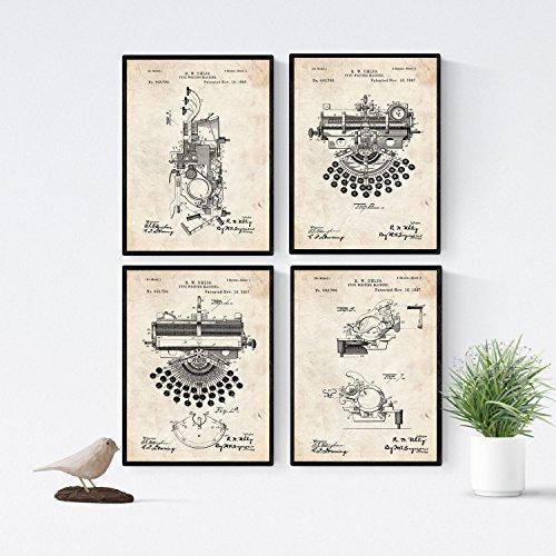 Nacnic Vintage - Pack de 4 Láminas con Patentes de Máquinas de Escribir. Set de Posters con inventos y Patentes Antiguas.