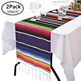 110' x 15' Mexican Table Runner for Cinco de Mayo Decorations - Hand Woven Mexican Blanket Table Runner Fiesta Party Supplies - Fringe Cotton Serape Table Runner for Mexican Party Wedding Decorations