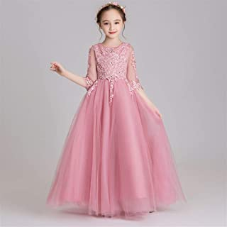 Luxury Pompon Princess Dress Girls Bouquet Beaded Long Section of Yarn Jade Pink Flower Girl Dress Little Girls Host Costumes Western Style Piano Performances ryq (Color : Jade Pink, Size : 100cm)
