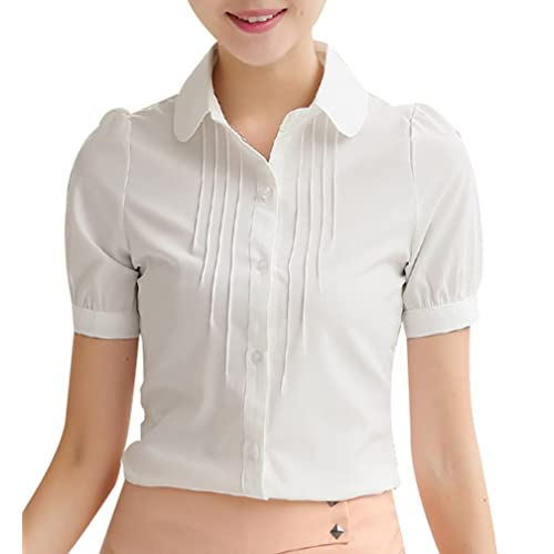 ca9f781bef Yasong Women Girls Short Sleeve Peter Pan Collar Button Down Slim Fitted  Formal Top Work Blouse
