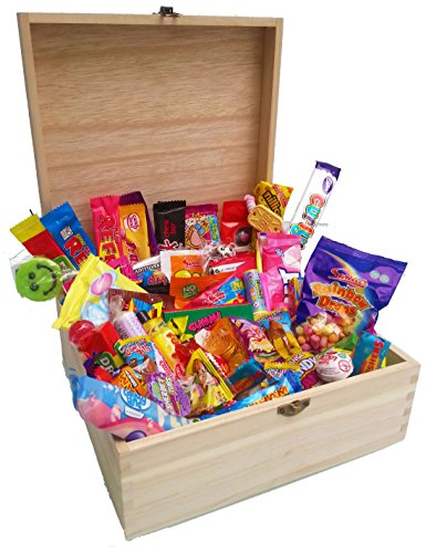 Awesome Candy Co Bumbledukes British Retro Sweets & Contemporary Chocolate & Candy Ultimate Luxury Wooden Sweet Gift Hamper