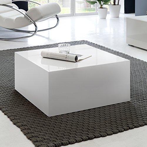 FineBuy Couchtisch MONOBLOC 60 x 60 x 30 cm Hochglanz MDF Weiß lackiert | Design Wohnzimmertisch Cube quadratisch | Lounge Beistelltisch Würfel Form