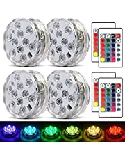 Submersible LED Lights Aquarium Swimming Pool Decorations Waterproof RGB with Remote Control for Fish Tank Home Underwater Vase Base Pond (10 LED, Battery Power,4 Packs)
