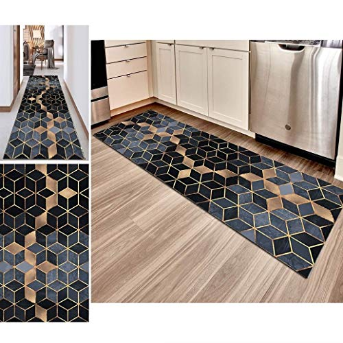 Hciszl Luxury Läufer Teppich Flur 60x150cm Korridor Kurzflor Brücke Modern rutschfest Waschbar Geometrisch Gitter Muster, Benutzerdefinierte Länge