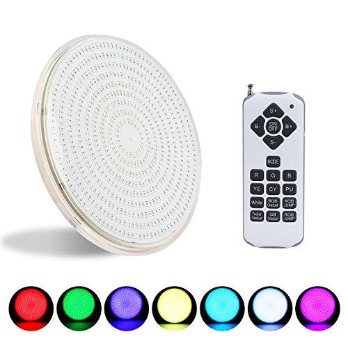 KWODE Poolscheinwerfer LED Par56, 54W RGB Poolbeleuchtung mit Fernbedienung, IP68 Unterwasser LED Beleuchtung, AC/DC 12V Pool Lampe Ersetzen PAR56 Scheinwerfer und Halogen Spot