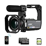 【4K Camcorder】: AE8 4k camcorder captures the extremely high quality pictures & video and record wonderful moments. 8MP CMOS sensor, new type integrated system, improves color image algorithm. This camcorder supports to be paused during recording. Th...