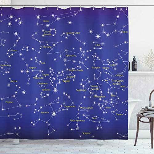 Ambesonne Constellation Shower Curtain, Astronomy Science Names of Stars Zodiac Signs Night Sky, Cloth Fabric Bathroom Decor Set with Hooks, 70