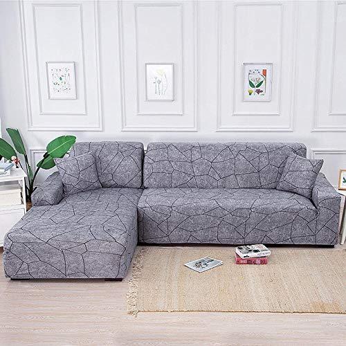 Fundas de sofá Fundas de tela elástica de poliéster,Funda de sofá elástica Fundas de sofá geométricas para sala de estar Esquina en forma de L-235-300cm_,Protector de cubierta de muebles con funda de