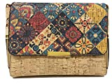 CORKCHO Bolso Bandolera de Corcho para Mujer Bolso Cruzado Casual con cierre de magnético dorado y correas ajustables estampado multicolor moderno con múltiples bolsillos cremallera (Casual1)