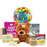 Sending Good Vibes and Get Well Wishes - Get well Gifts For Women with coloring kit and tea
