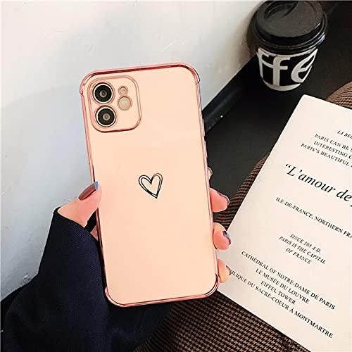 LIUYAWEI Funda Protectora para teléfono con galvanoplastia para iPhone 12 11 Pro MAX XR X XS MAX 7 8 Plus SE 2020 Love Heart Soft TPU Funda Trasera a Prueba de Golpes, Rosa, para iPhone SE 2020