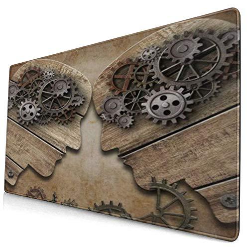 NUXIANY Alfombrilla de Ratón Gaming Wooden Brain Model Heads Fighting Gears Vintage Abstract Man Psicología Superficie Texturizada Impermeable Base de Goma Antideslizante para Gamers Oficina