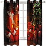 KLily Cortinas para El Día De Navidad Varilla Perforada con Orificio Redondo Cortina con Patrón De Papá Noel Tela De Cortina De Sombreado Grueso para Sala De Estar Y Balcón De Dormitorio