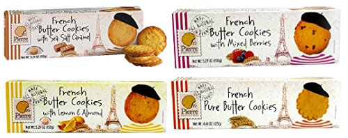 Pierre Biscuiterie French Butter Cookies 4 Box Best Sellers Variety Bundle