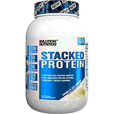 Evlution Nutrition Stacked Protein 908g Protein Powder with 25 Grams of Protein, 5 Grams of BCAA's and 5 Grams of Glutamine (Vanilla Ice Cream)
