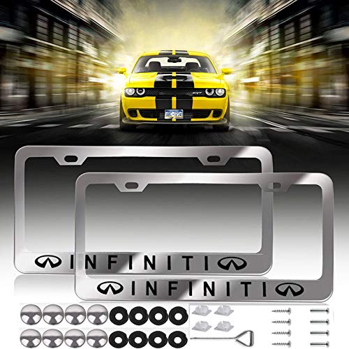 2 Pcs Newest Infiniti Logo Bling Frosted Silver Aluminum Alloy License Plate Frame,with Screw Caps Cover Set Suit,Applicable to US Standard car License Frame, for Infiniti.