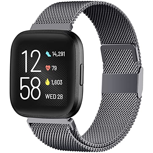 ZWGKKYGYH Bands Compatible with Fitbit Versa 2/ Versa/ Versa Lite SE Smart Watch, Stainless Steel Replacement Band Bracelet Strap with Magnet Lock for Women Men, Space Gray, Large