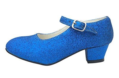 La Senorita Spanische Flamenco Schuhe - Königs blau Glitzer (Größe 31 = Größe 29 DE - Innenmaß 19,5 cm)