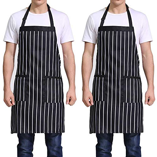 Love Potato Professional Stripe Bib Waterproof Apron with Adjustable Neck Strap & Waist Ties, Unisex Restaurant Chef Kitchen Apron, Perfect for Cooking, Baking, Barbequing (2 Pack)
