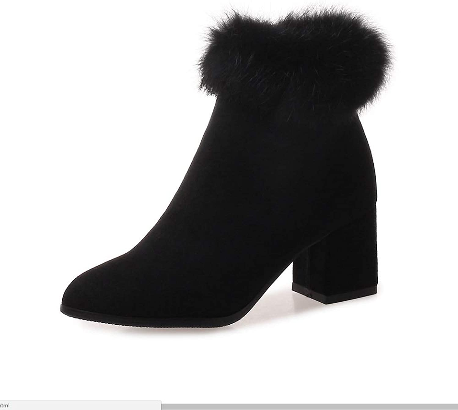 Womens High Heels Pointed Toe Ankle Boots Block Chunky Heels Short Boots Autumn Winter Booties Grip Sole Warm Sexy Fleece Collar Boots Size