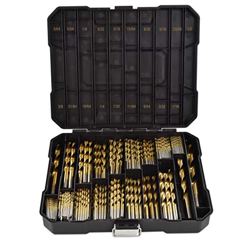 Segomo Tools 230 Piece 135 Degree High Speed HSS Titanium Coated Twist/Spiral Drill Bit Set - DB230