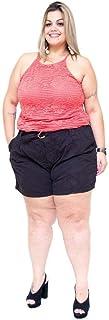 Shorts Feminino Cambos Plus Size Clochard Miriha Preto