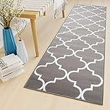 TAPISO Luxury Tapis de Couloir Salon Chambre des Jeunes Moderne Blanc Gris Moelleux Géométrique Marocain 80 x 300 cm