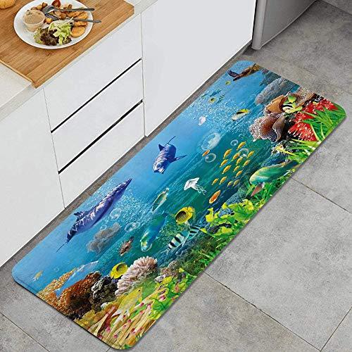 MIGAGA3 Fantasy Underwater Cartoon Marine Animals with Corals Dolphin Sea Turtle and Tropical Fishes in Mystic Sea World Anti Fatigue Kitchen Mat Comfort Standing Mat Non-Slip Kitchen Rug