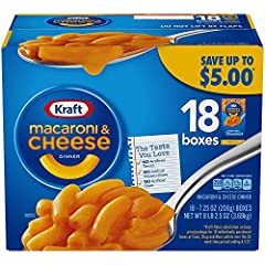 Macaroni & Cheese dinner with Premium Original Flavor in each 7.25 oz box with 18 Boxes in this Special Pack Consists of thick cheesy sauce Quick and simple Kraft dinner Delicious meal or side dish No artificial flavors, artifical dyes or artifical p...