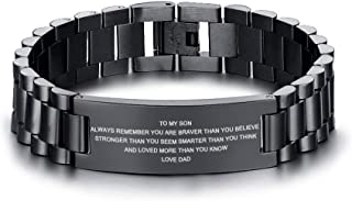 MEALGUET Stainless Steel to My Son Love Mom Courage Inpsirational Wristband Bracelets, Birthday Gifts to Son Idea to Son