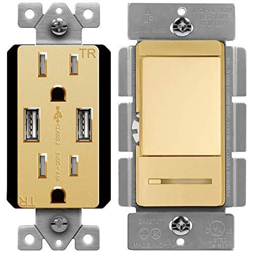 TOPGREENER High Speed USB Wall Outlet, 15A Tamper-Resistant Receptacles/Dimmer Switch with Light Adjustment Slider, Single Pole or 3 Way, 150W LED, 600W Incandescent/Halogen, 120V 60Hz, Gold
